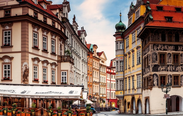 Picture the city, street, building, home, Prague, Czech Republic, cafe, architecture, Prague, The Czech Republic, Praha