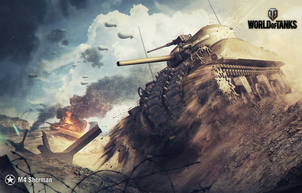Picture The sky, Clouds, Mountains, Dust, Smoke, Fire, Iron, Trunk, Dirt, Flame, WoT, World of Tanks, …