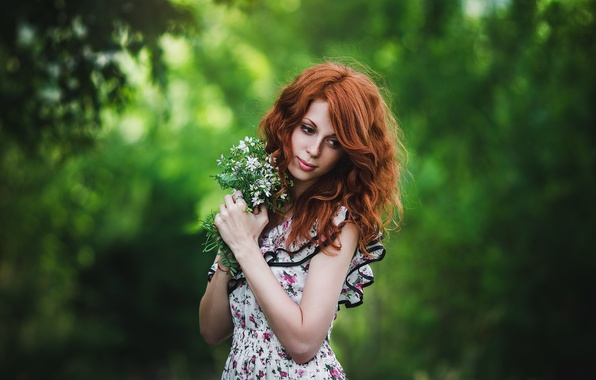 Picture greens, forest, girl, flowers, nature, mood, bouquet, dress, red, is, thought, bokeh