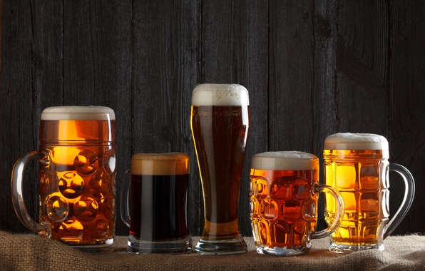 Photo wallpaper beer mugs, beer, alcoholic beverages