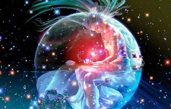 Picture girl, space, night, lights, fire, stars, fantasy, Earth, space, fantasy, Scorpio, constellation, Earth, stars, scorpion, …