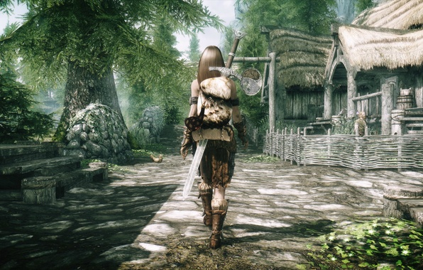 Picture girl, the fence, back, sword, village, stage, Skyrim, is, The Elder Scrolls V