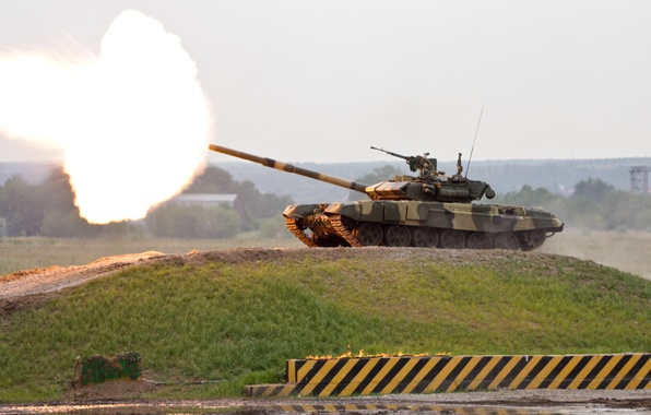 Picture flame, mountain, shot, tank, Russia, T-90