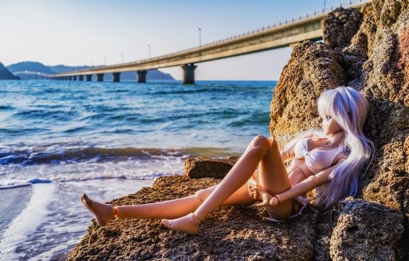 Picture sea, bridge, nature, stones, toy, doll, Japan, Japan, The sea of Japan, Sea of Japan, …