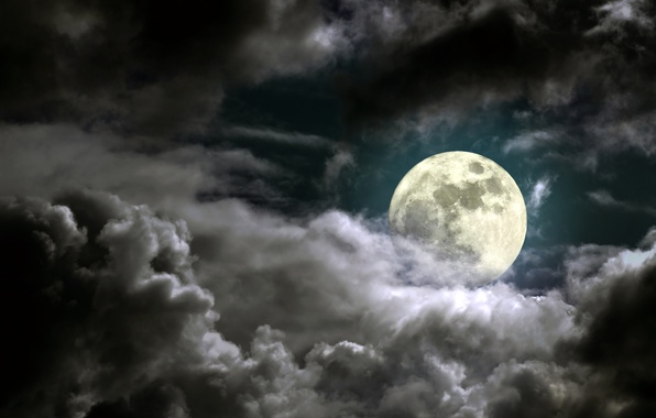 Picture the sky, clouds, light, night, the moon