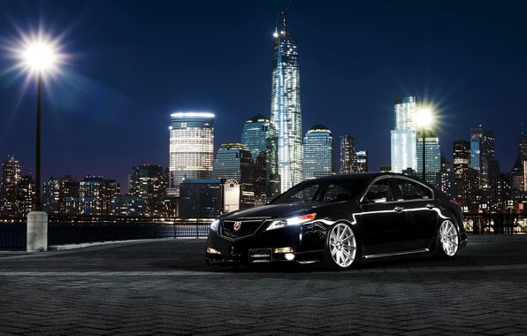 Picture car, night, the city, tuning, acura tl, Acura