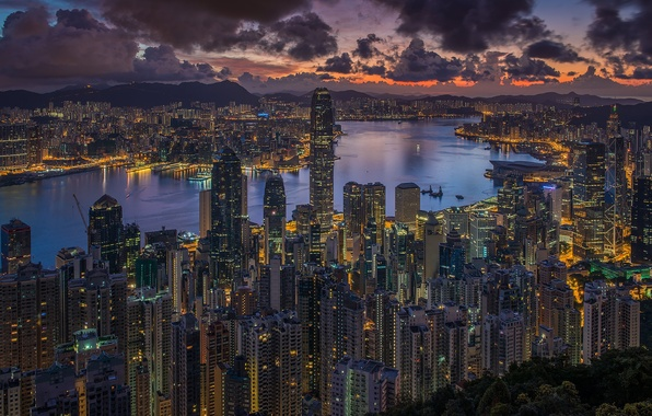 Picture the sky, clouds, the city, Hong Kong, morning, China, Hong Kong, China
