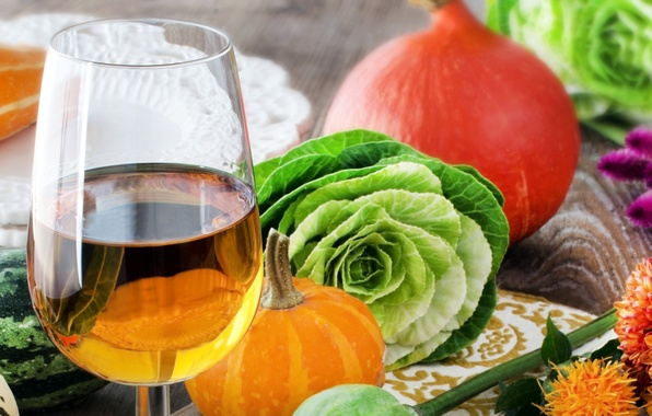 Picture autumn, wine, white, glass, harvest, pumpkin, vegetables, cabbage