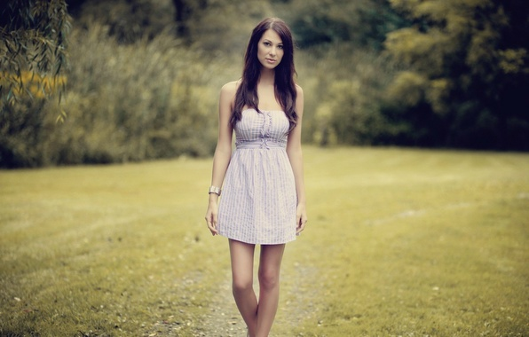 Picture look, nature, pose, Girl, dress, brunette, legs