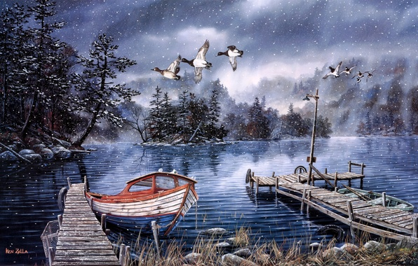 Picture lake, boat, duck, pier, boat, lantern, painting, late autumn, the first snow, Ken Zylla, Lake …