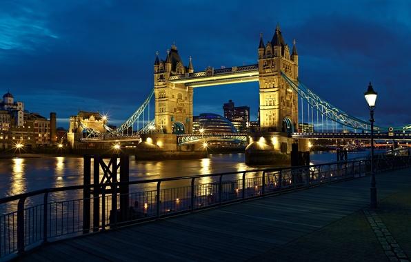 Picture light, night, city, the city, river, England, London, lantern, UK, light, london, Tower bridge, river, …