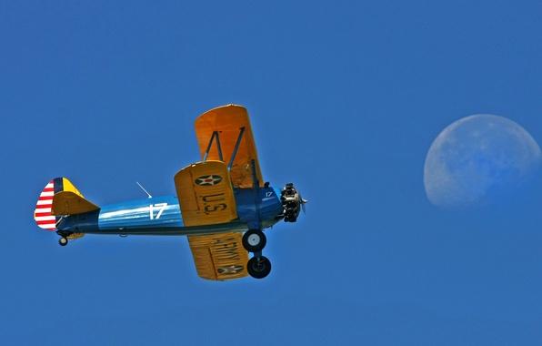 Picture the sky, retro, the plane, the moon, biplane
