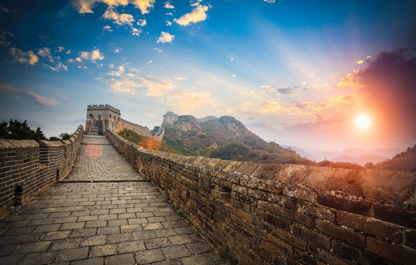Picture landscape, mountains, stay, wall, morning, blur, China, tower, summer, rays of light, bokeh, travel, The …