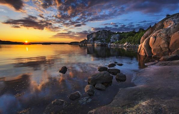 Picture sea, stones, rocks, dawn, coast
