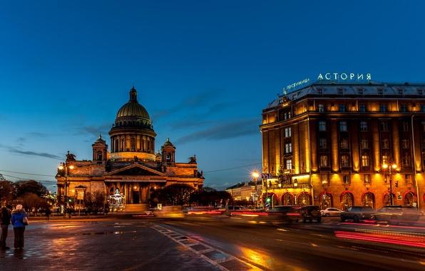 Picture night, lights, street, Peter, Saint Petersburg, Russia, Russia, the hotel, SPb, St. Petersburg, spb, Astoria