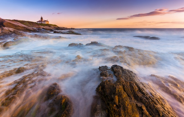 Picture stones, the ocean, shore, lighthouse, morning