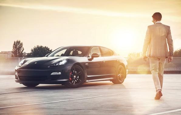 Picture car, black, man, rechange, Porsche Panamera