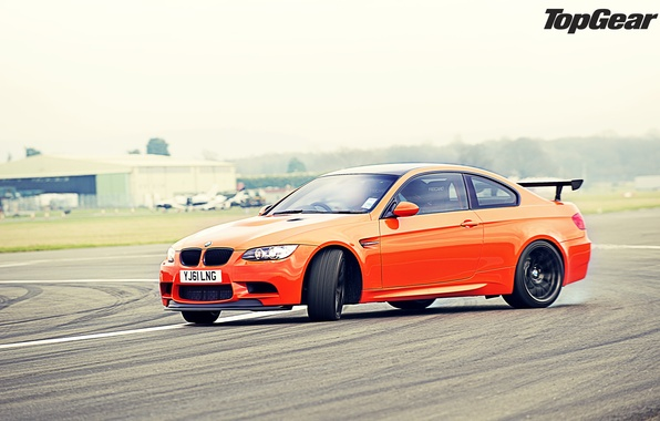 Picture orange, BMW, skid, BMW, supercar, drift, track, top gear, the front, the best TV show, …