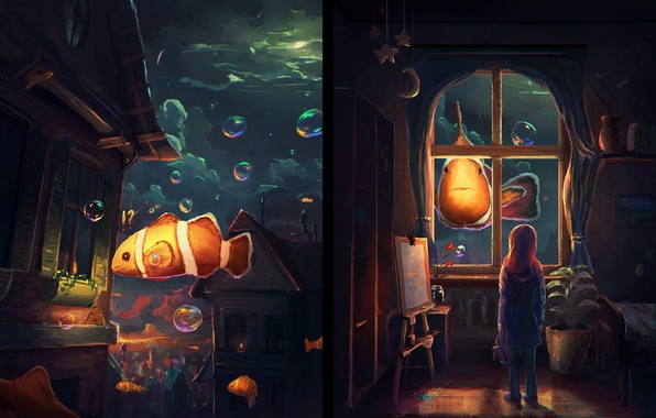 Picture water, fish, room, Windows, art, girl, painting