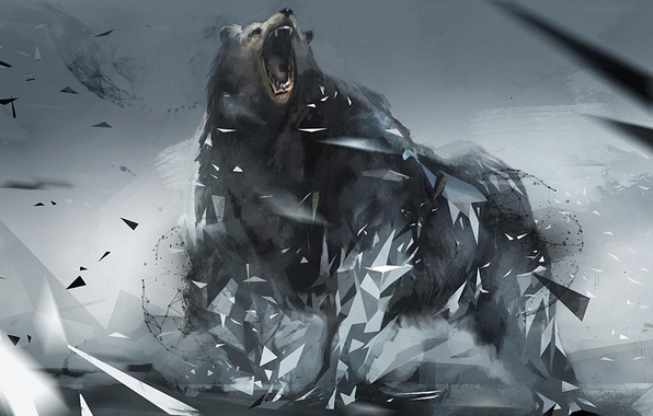 Picture background, triangles, bear, rage, figure