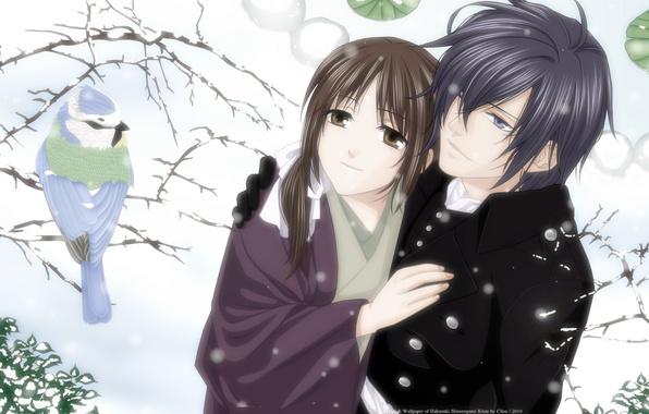 Picture winter, girl, snow, tree, bird, pair, guy, Saito Hajime, chizuru yukimura, hakuouki shinsengumi kitano
