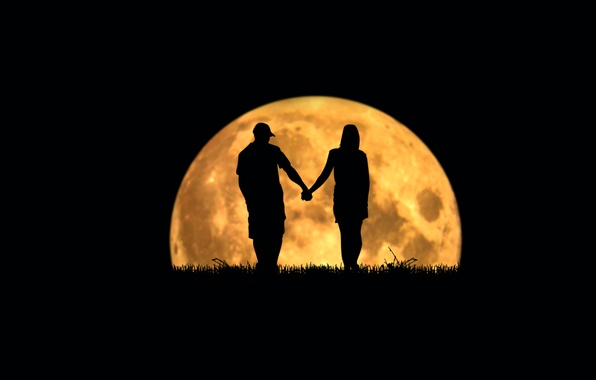 Picture the moon, pair, Moonlovers