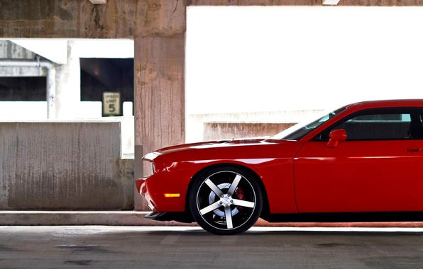 Picture Red, Auto, Machine, Wheel, Dodge, Dodge, Challenger, SRT-8, Side view