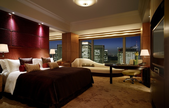 Picture design, the city, comfort, style, room, the building, interior, window, apartment, bed. bedroom