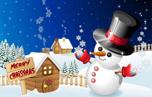 Picture winter, holiday, graphics, Christmas, snowman, christmas, merry