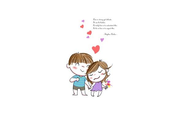 Picture love, the inscription, boy, girl, hearts