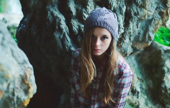 Picture hat, hair, portrait, girl, shirt, teen