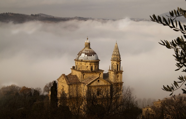 Picture trees, nature, fog, Italy, Church, temple, Italy, Tuscany, Toscana, The church of San Biagio, Montepulciano, …