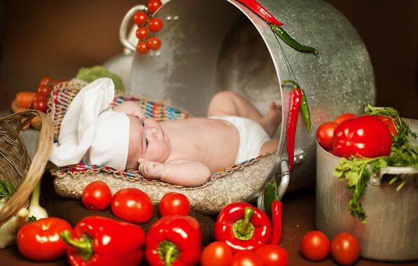 Picture greens, children, food, pan, pepper, vegetables, tomatoes, child, Anna Levankova, scullion