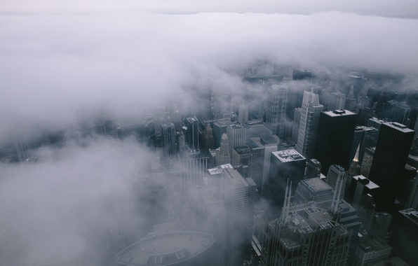 Picture City, Clouds, Chicago, Landscape, Fog, Architecture