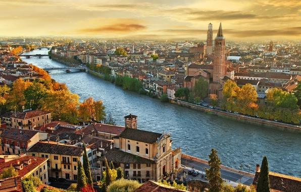 Picture bridge, the city, river, building, Italy, river, Italy, the urban landscape, a city, city landscape, …