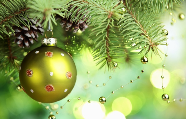 Picture green, toys, tree, ball, spruce, branch, ball, New Year, Christmas, beads, Christmas, bumps, holidays, New …