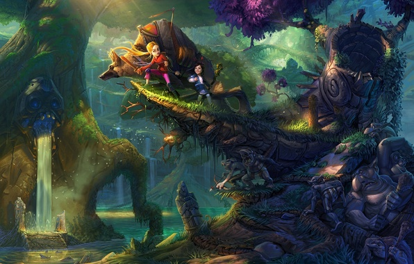 Picture forest, trees, children, river, waterfall, art, goblins