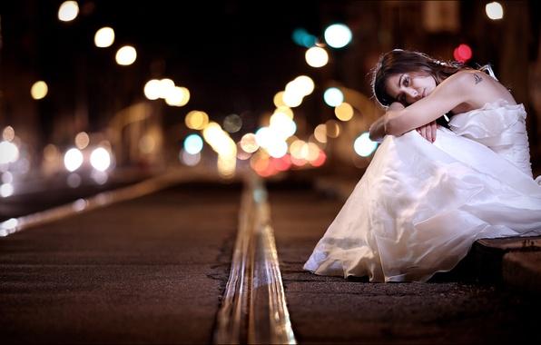 Photo wallpaper street, night, girl