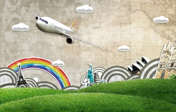 Picture grass, clouds, hills, Eiffel tower, map, rainbow, the plane, Colosseum, the statue of liberty