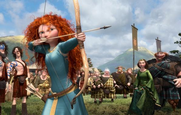 Picture cartoon, Scotland, warrior, bow, Archer, shooting, Disney, Pixar, Pixar, arrows, Princess, red hair, Queen, Scotland, …