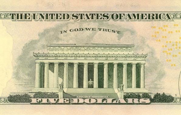 Picture Dollar, five, states, God, united, America, memorial