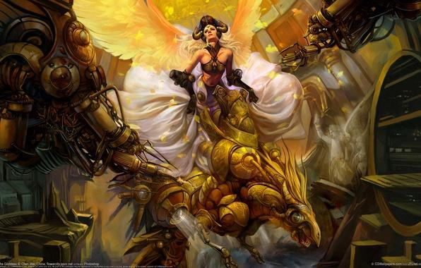 Picture girl, bird, wings, chen wei, mechanics, goddess