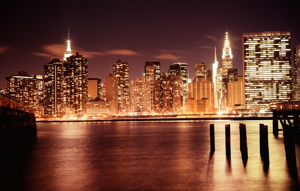 Picture light, the city, lights, river, building, home, New York, skyscrapers, the evening, USA, USA, Manhattan, …