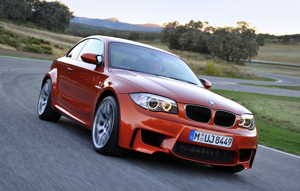 Picture Auto, BMW, BMW, Orange, Lights, Room, 1 series, The front, In Motion