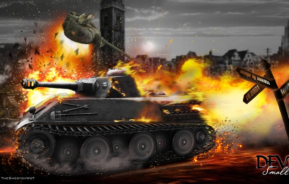 Picture the explosion, fire, tank, tanks, WoT, World of Tanks, Himmelsdorf, Wargaming.Net, VK2801, T-50-2