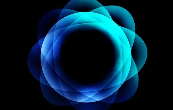 Picture color, the sun, blue, abstraction, blue, pattern, round, Ghimpu, gimp, Strange blue