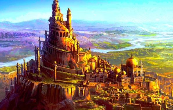 Picture landscape, art, fortress, fantasy, fantasy
