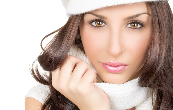 Picture look, girl, eyelashes, hat, hair, hands, scarf, brown eyes