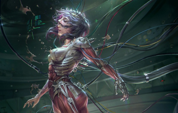 Picture girl, metal, wire, Ghost in the shell