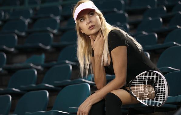 Picture look, girl, face, background, racket, cap, tennis, Ingrid